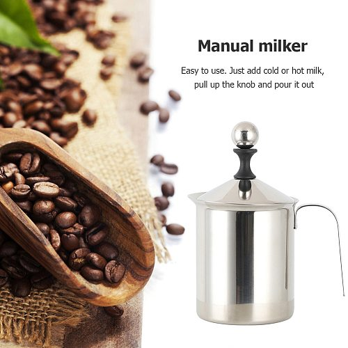 Manual Milk Frother Stainless Steel Frothing Coffee Pitcher Cappuccino Milk Pot Foamer Creamer Kitchen Applicance