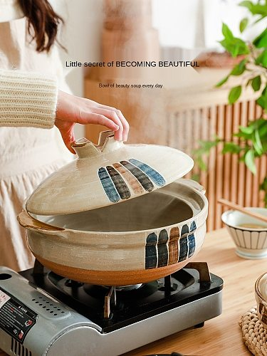 Japanese-Style Ceramic Casserole for Making Soup Stew Pot Gas Stove Special Stew Gas Soup Household Sand-Resistant Dry
