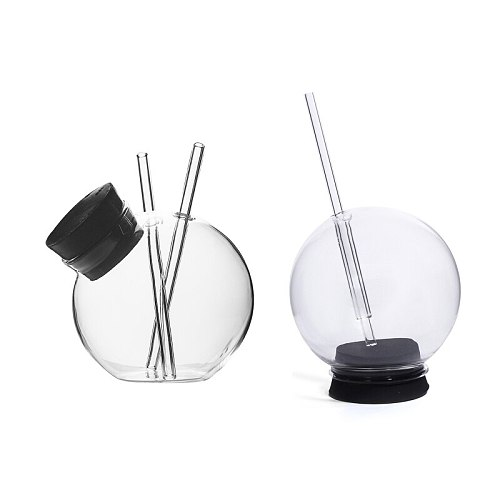 Cocktail Glass Creative Sphere Shaped Reusable Drinking Straw Cup Wine Juice Gla GXMA