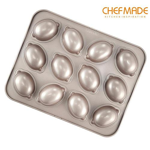 CHEFMADE Bakeware Lemon-Shaped Cake Mold 12-Cavity Non-Stick Bread Pan FDA for Kitchen Oven Baking Accessories