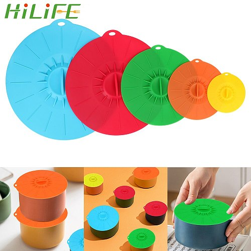 HILIFE Reusable Kitchen Tools Bowl Pot Cup Lid Pan Lid Stopper 5Pcs Silicone Stretch Lids Microwave Bowl Cover Food Fresh Cover