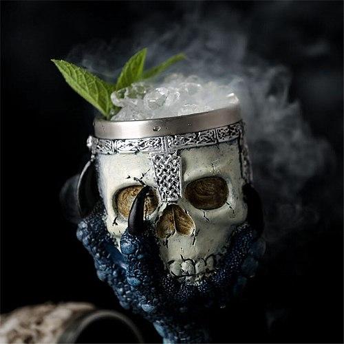 Horrible Resin Stainless Steel Design Wine Glass Horror Cup Skull Goblet Perfect Gift Skull For Lovers Halloween Theme Parties