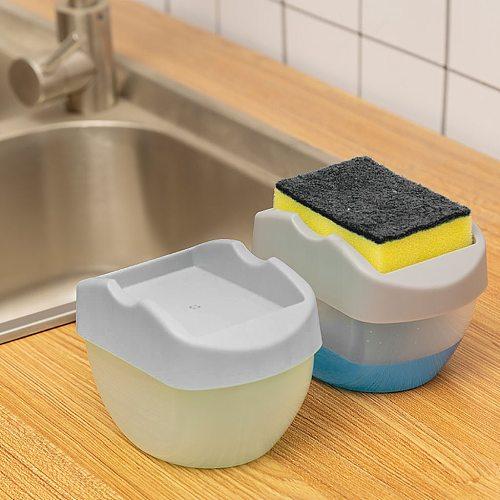 Soap Pump Dispenser With Sponge Holder 2-in-1 Liquid Dispenser Container Hand Press Soap Organizer Kitchen Cleaner Tools 2021