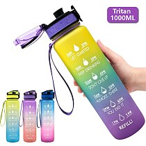 1000ML Gradient Sports Bottle Power Kettle With Time Stamp  Tritan Shaker Outdoor Travel Camping Hiking School Plastic Drink