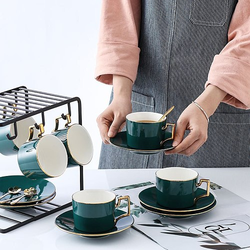 1pcs High Quality Gold Bone Porcelain Coffee Cup Vintage Ceramic Cup Dish On-glazed Advanced Tea Cup And Saucers with holder Set
