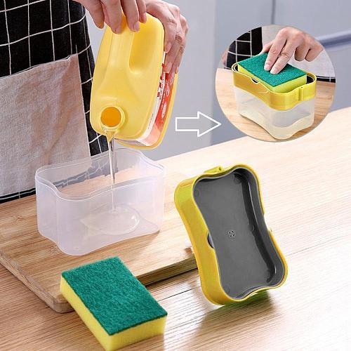 2-in-1 Soap Pump Dispenser with Sponge Holder Hand Press Soap Box Organizer Soap Organizer Kitchen Cleaner Tools