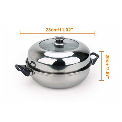 2 Tier Stainless Steel Steamer Gas Stove Induction Compatible Home Kitchen Cooking Cookware Double Boilers Steam Pot Cooker 28cm
