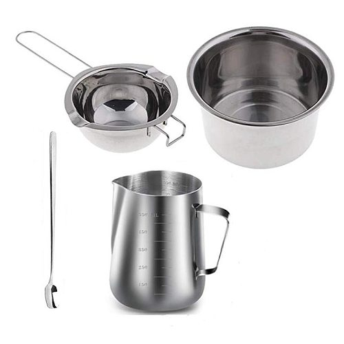 Practical 4 Set Stainless Steel Double Boiler Long Handle Wax Melting Pot, Pitcher & Mixing Spoon Candle Soap Making, DIY Scente