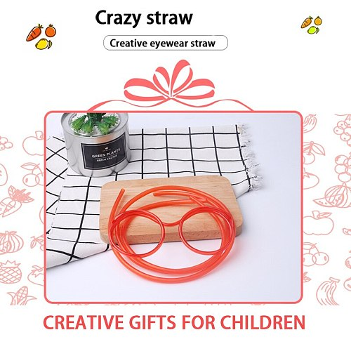 1PC Fun Soft Straw Glasses Straw Hose Children's Novelty Toys Flexible Drinking Toy Party Toy Bar Service Supplies Lovely Items