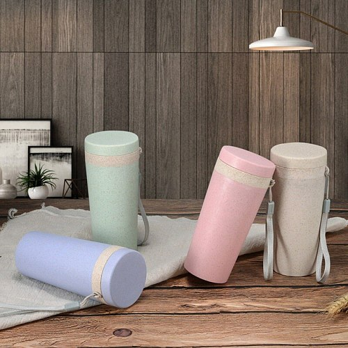 Wheat Straw Water Bottle Double-layer Plastic Water Bottle Portable Insulation for Drop Shipping