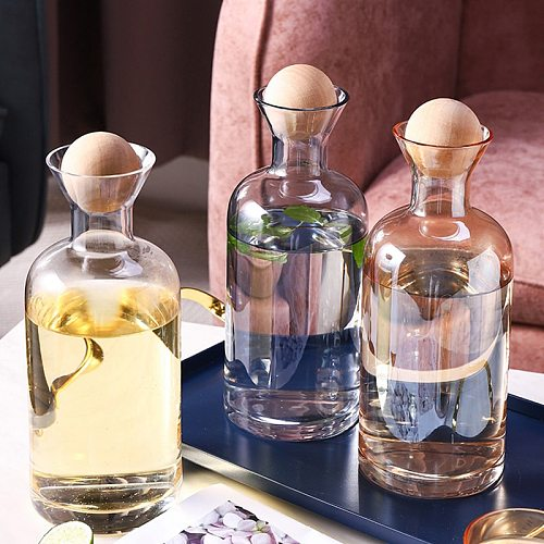 Nordic Style Glass Carafe Water Pitcher with Wood Lid Cold Drinks Tea Jug Waterkoker Household Drinkware Clear Water Bottle