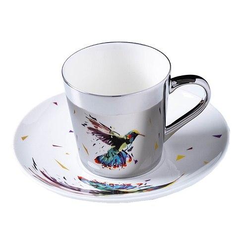 Mirror Coffee Mugs Specular Reflection Bird Procelain Tea Cups And Saucers Scoop European Style Coffeeware