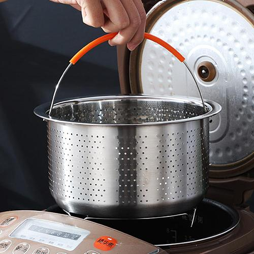 Stainless Steel Vegetable Food Steamer Basket Pressure Cooking Kitchen Tool Anti-scald Steamer Multi-Function Fruit Clean Basket