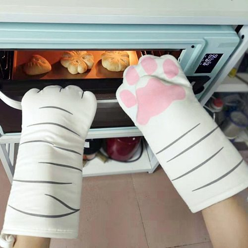 1Pcs 3D Cartoon Cat Paws Oven Mitts Long Cotton Baking Insulation Gloves Microwave Heat Resistant Non-slip Home Kitchen Gloves