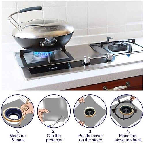 4pcs / Set Gas Stove Protector Pot Cover Clean Carpet Kitchen Gas Stove Kitchen Stove Accessories Cookware Parts
