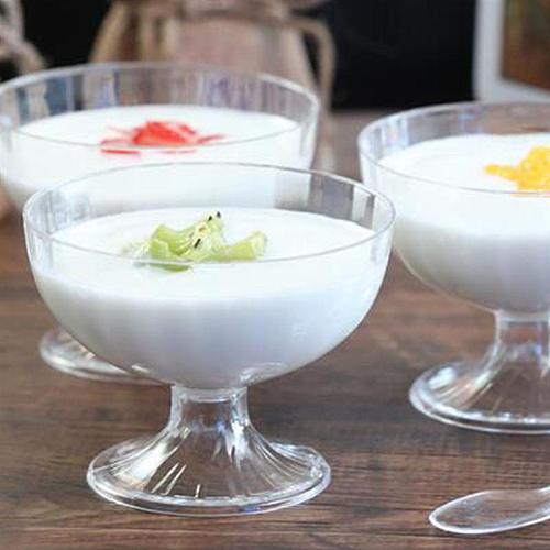 10pcs Disposable Cups Transparent Jelly Pudding Cup Mousse Dessert Container Plastic Round Goblet without Spoon or Lid