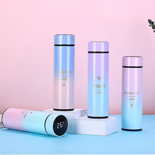 500ml Smart Vacuum Cup Display Smart Water Cup Logo Logo Set Cooling Hot Coffee Cup 304 Stainless Steel Kettle Net Red