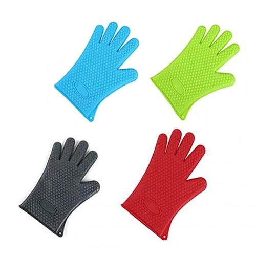 1pc Kitchen Baking Tools Non-slip Heat Proof Oven Mitts Heat Resistant Silicone Microwave Oven BBQ Gloves For Baking Grilling