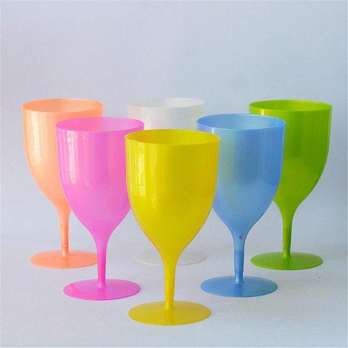 Color Unpatterned Plastic Goblet Wine Glass Champagne Glass Party Picnic 350ML Multi-purpose Glass 6PCS