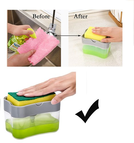 2-in-1 Soap Pump Dispenser With Sponge Holder Liquid Dispenser Container Hand Press Soap Organizer Kitchen Cleaner Tools new