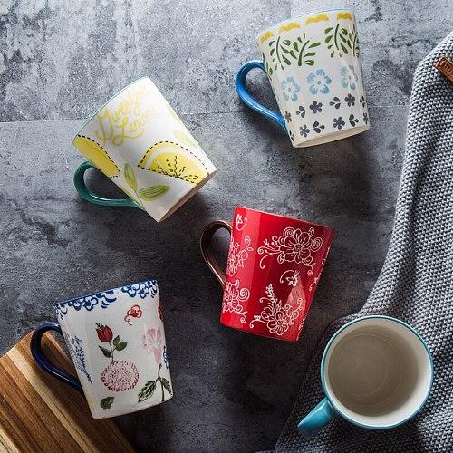 Handpainted Underglaze Ceramic Coffee Tea Mug Simple Retro Teacup Set 375ml Household Breakfast Milk Cup