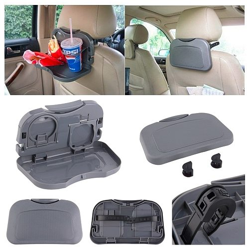 Car Tray Food Stand Rear Seat Beverage Rack Water Drink Holder Bottle Travel Mount Accessory Foldable Meal Cup Desk Table