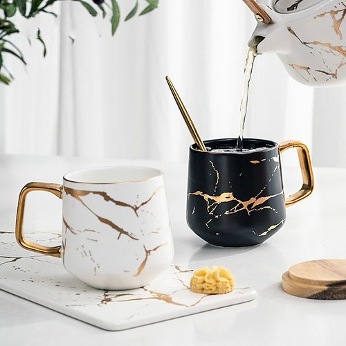 GIZILI Coffee Mugs Matte Luxury Nordic Marble Water Cafe Tea Milk Cups Condensed Coffee Ceramic Cup Saucer Suit with Dish Spoon