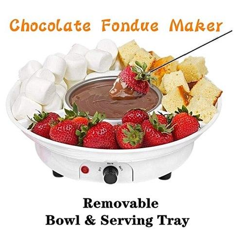 Chocolate Fondue Maker Electric Chocolate Melting Pot Set Candy Maker Dessert Cheese Fountain Boiler with EU Plug