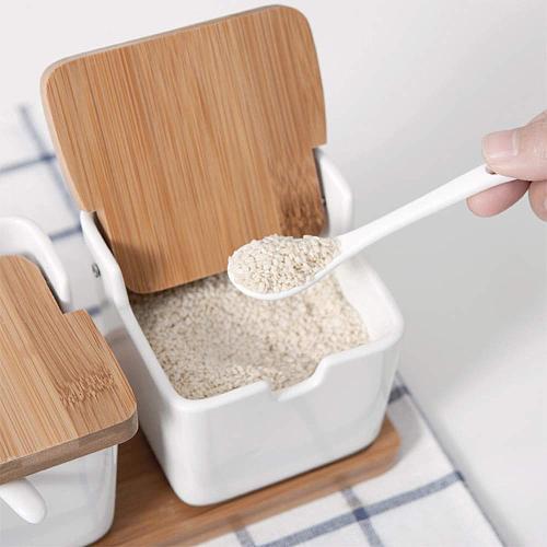 Ceramic Sucrier Pots Miel For Sugar Container Kitchen Bowls Sweettreats Azucarero Suikerpot Jar Spice Tin Saltcell 8.4OZ (250ML)