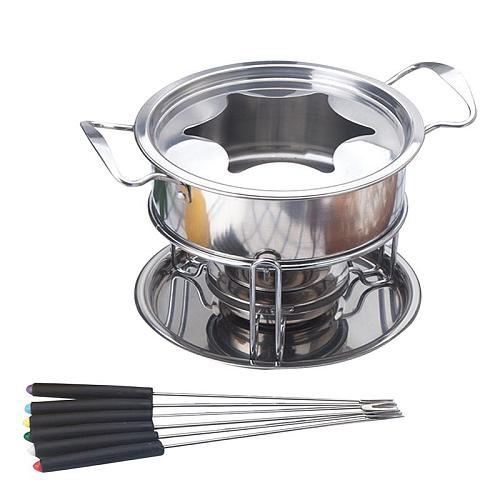 10 Piece Set Stainless Steel Chocolate Melting Pot Cheese Fondue Set Kitchen Accessories