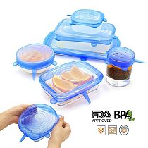 6 Pcs/ Set Silicone Cover Fresh Keeping Silicone Stretch Lids Caps For Food Pot Dish Kitchen Accessories tampa de silicone