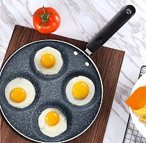 5 Round Holes Frying Pot Thickened Omelet Pan Non-stick Egg Pancake Steak Pan Cooking Egg Ham Pans Breakfast Maker Black Color