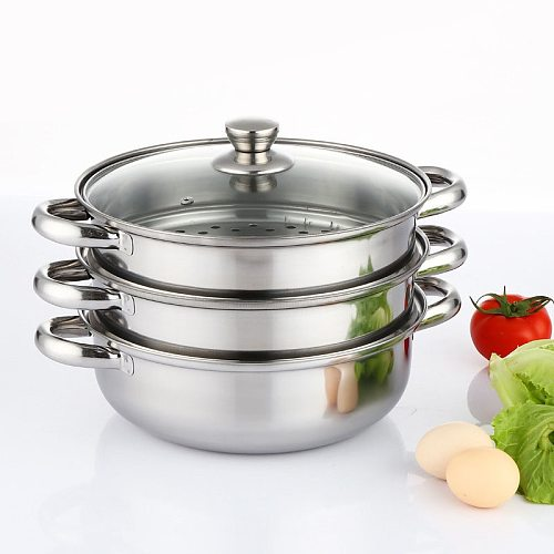 Steamer Pot 28CM Stainless Steel Steam Pot Thicken Double Boiler 2-Layer Steamer Induction Cooker Steaming Pot Soup Pot for Home