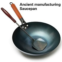 High Quality Saucepan Iron Wok Traditional Handmade Iron Wok Non-stick Pan Non-coating Induction and Gas Cooker Cookware