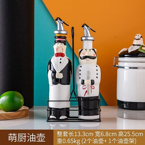 Ceramic Soy Sauce Bottle Set Household Kitchen Seasoning Containers Oil Pot Restaurant Sealed Cans Set 2-Piece Pack