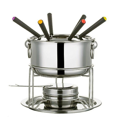7PCS Chocolate Cheese Hot Pot Melting Pot Stainless Steel Fondue Make With Hot Pot Fork For Kitchen Tableware Tools