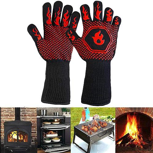 Barbecue anti-scald gloves Heat Glove Resistant BBQ Oven Gloves Kitchen Fireproof Gloves Anti-slip Gloves for Baking Cooking