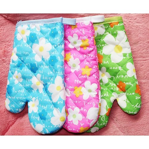 1Pc Heat Resistant Quilted Oven Mitts Kitchen Cook Mitt Thick 100% Cotton Oven Mitt Kitchen Cooking Baking BBQ Potholders