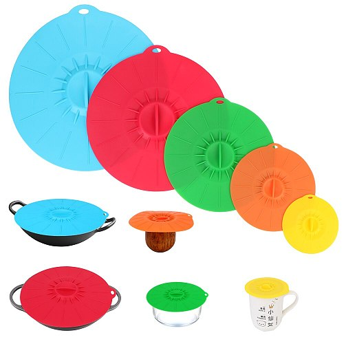 Bowl Pot Cup Lid Food Fresh Cover Pan Lid Stopper Microwave Bowl Cover 5Pcs Silicone Stretch Lids Reusable Kitchen Tools