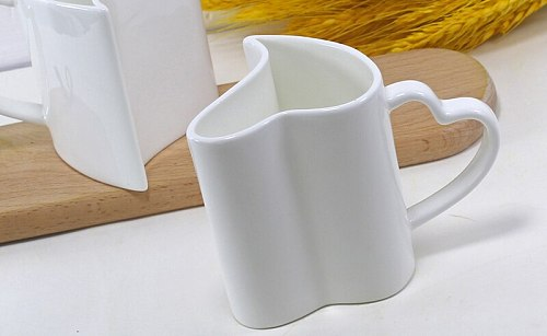 300ML, 2pcs/lot,  fine bone china lover thermal cup, novelty espresso cups, heart shaped mug,  wedding gift, white porcelain cup