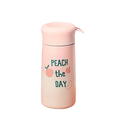 300ML Creative Peach Coffee Mug Travel Portable Outdoor Stainless Steel Cartoon Cute Water Bottle Pink Girl Kawaii Tumbler Cup
