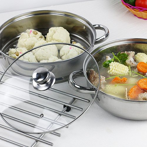 Multifunctional Steam Pot Double Layers Stockpot Stainless Steel Steamer Cooking Boiler Silver (28cm)