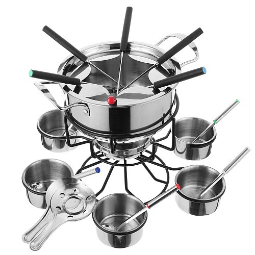 1 Set Alcohol Stove Portable Fondue Stove Fondue Pot Stainless Steel Cookware