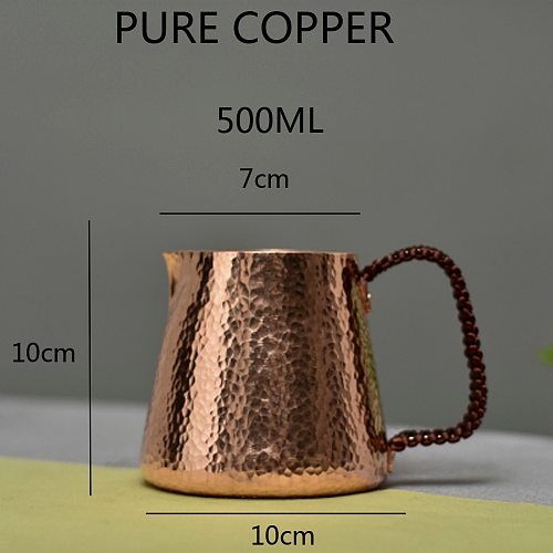 500ml Pure Copper Latte Pitcher Milk Jug Water Pots Kettles Hammer Handcraft  Drinkware Tableware