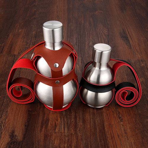 Gourd Shaped Stainless Steel Alcohol Vodka Hip Flasks Large Capacity 250/500ml Wine Pot Liquor Bottle with Portable Leather Belt