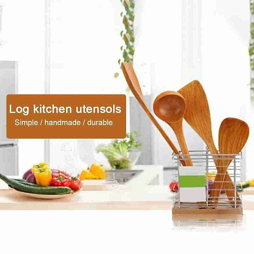 Long Handle Wooden Cooking Rice Spatula Scoop Kitchen Non-Stick Kitchen Cookware Shovel Wok Hand Utensil Accessories Tools W4N4