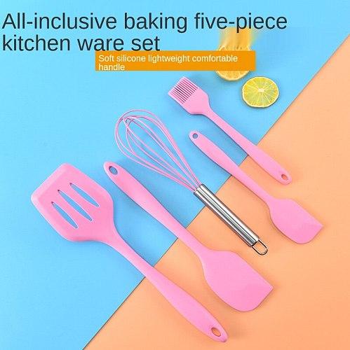 5PCS/Set Silicone Kitchenware Non-stick Cookware Cooking Tool Spatula Ladle Egg Beaters Shovel Kitchen Utensils Spoon Set