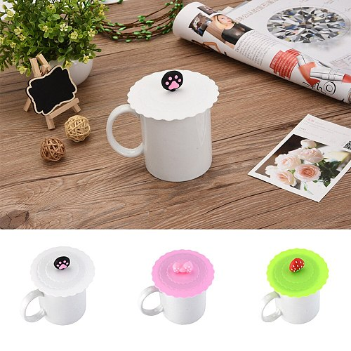 Candy Color Cute Designed Fashionable Creative Food-grade Silicone Cup Cover Heat-resistant Safe Healthy Silicone Lids 12 Colors