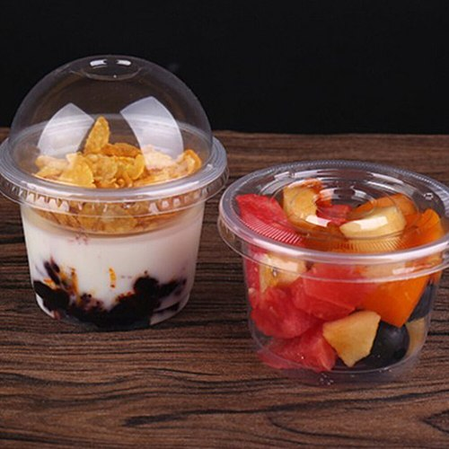120/150/250ml Disposable Salad Cup Transparent Plastic Dessert Bowl Container with Lid for Bar Cafe Home (Dome Lid with Hole)