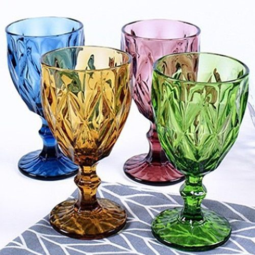 Colorful Wine Glasses Goblet Cup European Retro Lead-free Heat-resistant Thickened Cocktail Juice Glass Cups 300ml